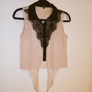 Love J Beige with Black Lace Top Sz.S